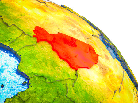 Niger Highlighted on 3D Earth model with water and visible country borders. 3D illustration. Stock Photo