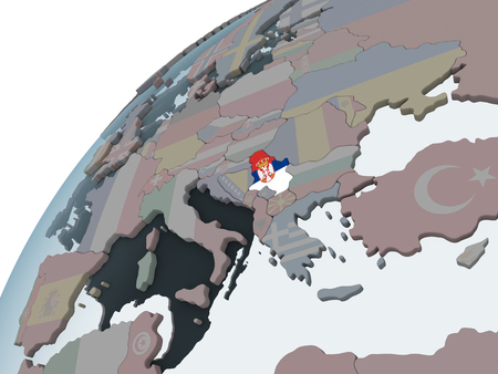 Serbia on political globe with embedded flag. 3D illustration.
