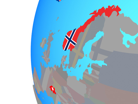 EFTA countries with embedded national flags on blue political globe. 3D illustration. Stock Photo