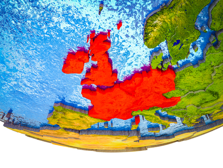 Western Europe on 3D Earth with divided countries and watery oceans. 3D illustration. Banco de Imagens