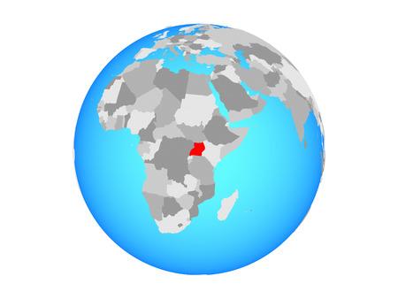Uganda on blue political globe. 3D illustration isolated on white background.