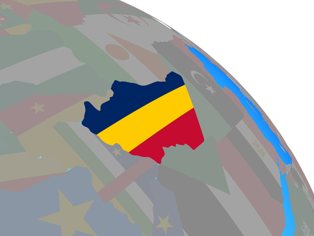 Chad with national flag on simple blue political globe. 3D illustration.