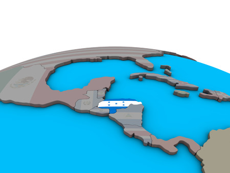 Honduras with embedded national flag on political 3D globe. 3D illustration.