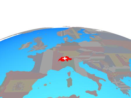 Switzerland with national flag on political globe. 3D illustration. Banque d'images - 110901006