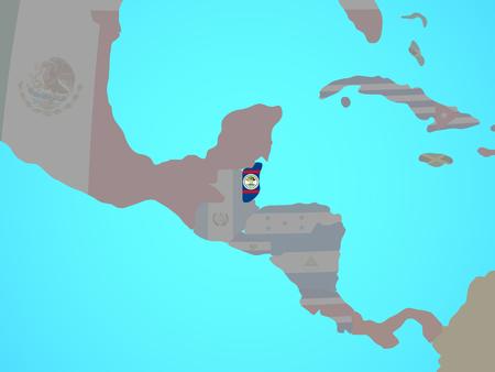 Belize with national flag on blue political globe. 3D illustration.