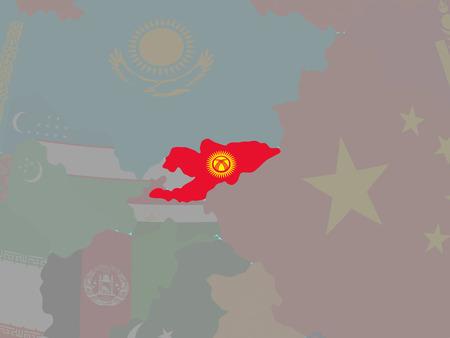 Kyrgyzstan with national flag on blue political globe. 3D illustration.