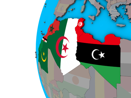 Maghreb region with national flags on blue political 3D globe. 3D illustration.
