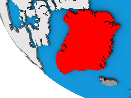 Greenland on simple 3D globe. 3D illustration.