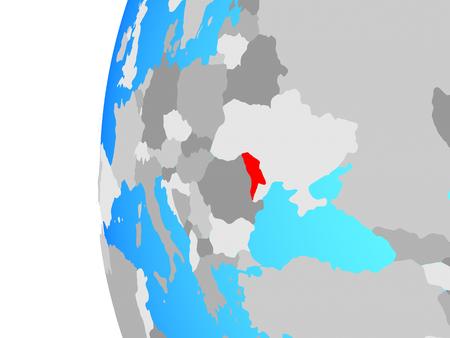 Moldova on blue political globe. 3D illustration.