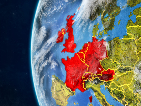 Western Europe from space on model of planet Earth with country borders and very detailed planet surface and clouds. 3D illustration.