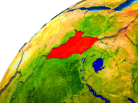 South Sudan on 3D Earth model with visible country borders. 3D illustration. 스톡 콘텐츠 - 110974575