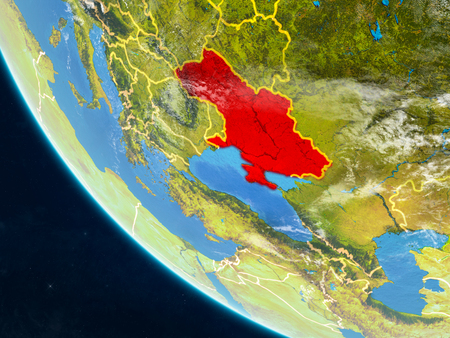 Crimea on planet Earth from space with country borders. Very fine detail of planet surface and clouds. 3D illustration. Foto de archivo