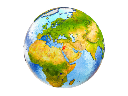 Jordan on 3D model of Earth with country borders and water in oceans. 3D illustration isolated on white background. Stockfoto
