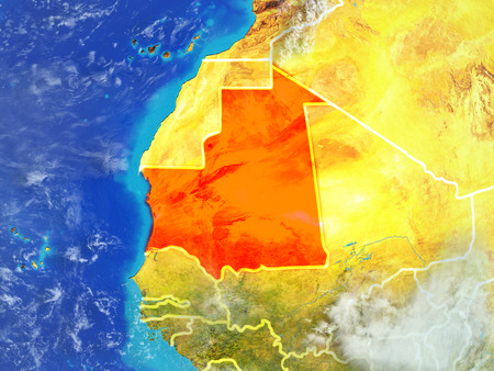 Mauritania from space on model of planet Earth with country borders. Extremely fine detail of planet surface and clouds. 3D illustration.