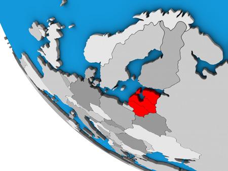 Baltic States on simple 3D globe. 3D illustration.