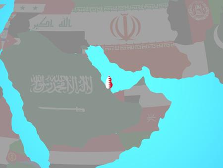 Qatar with national flag on blue political globe. 3D illustration.
