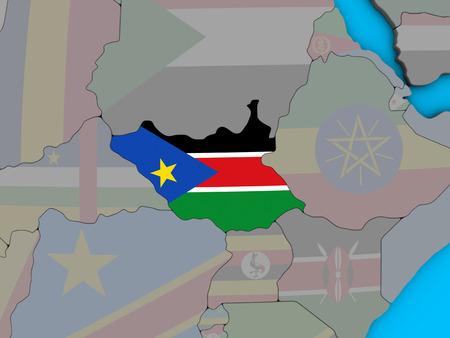 South Sudan with embedded national flag on blue political 3D globe. 3D illustration. 스톡 콘텐츠 - 110974776