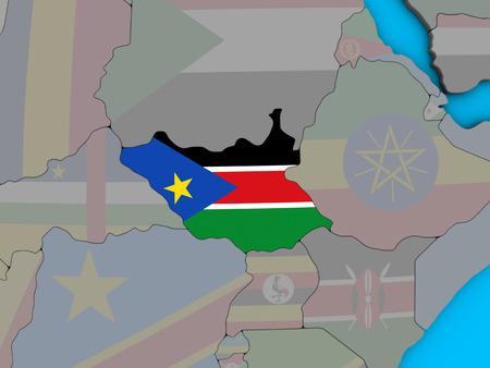 South Sudan with embedded national flag on blue political 3D globe. 3D illustration.