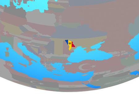 Moldova with national flag on simple political globe. 3D illustration.