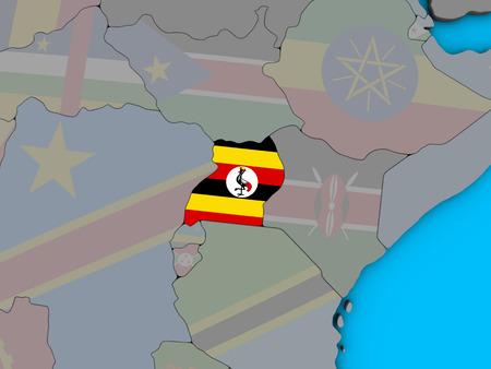 Uganda with embedded national flag on blue political 3D globe. 3D illustration.
