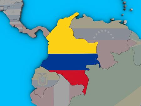 Colombia with embedded national flag on blue political 3D globe. 3D illustration. Reklamní fotografie