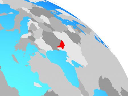 Moldova on simple blue political globe. 3D illustration.