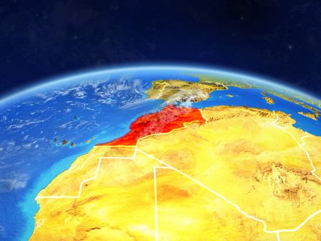 Morocco on planet Earth with country borders and highly detailed planet surface and clouds. 3D illustration.