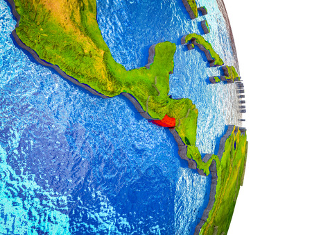 El Salvador on 3D model of Earth with divided countries and blue oceans. 3D illustration. Banco de Imagens