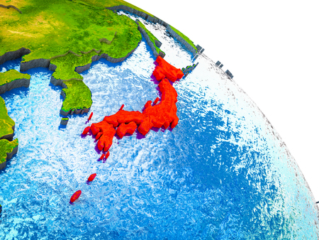 Japan Highlighted on 3D Earth model with water and visible country borders. 3D illustration.