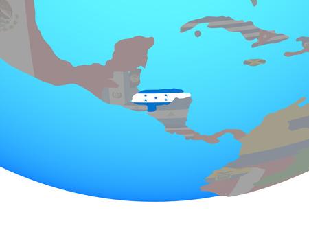 Honduras with national flag on simple political globe. 3D illustration.