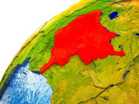Dem Rep of Congo on 3D Earth model with visible country borders. 3D illustration.