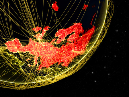 Europe on dark Earth with network. Concept of connectivity. May represent air traffic, internet or telecommunications. 3D illustration.