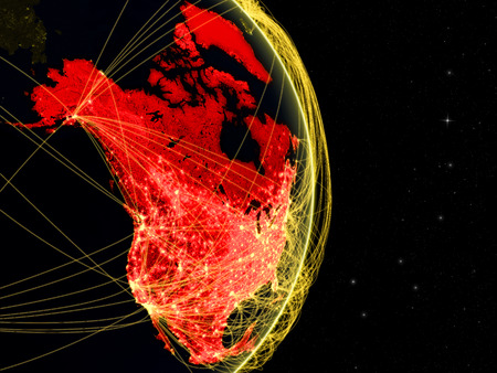 North America on dark Earth in space with networks. Concept of internet, telecommunications or air traffic between continents. 3D illustration.