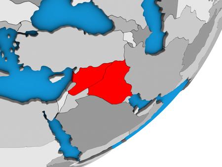 Islamic State on blue political 3D globe. 3D illustration. Imagens