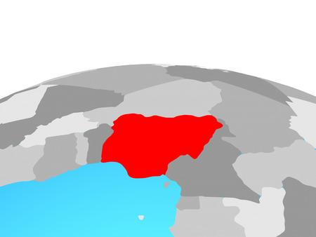 Nigeria on political globe. 3D illustration. Stock Photo