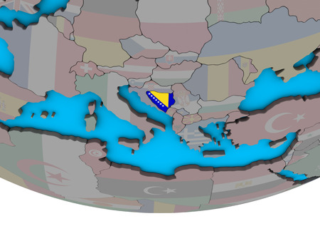 Bosnia and Herzegovina with embedded national flag on simple political 3D globe. 3D illustration.