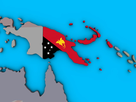 Papua New Guinea with embedded national flag on blue political 3D globe. 3D illustration.