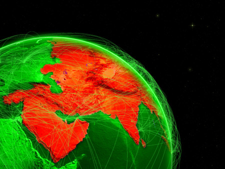 Asia on green Earth in space with networks. Concept of intercontinental air traffic or telecommunications network. 3D illustration.