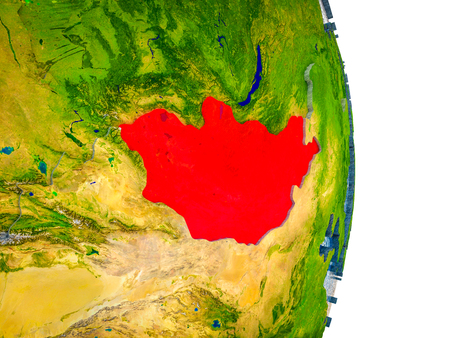 Mongolia on 3D model of Earth with divided countries and blue oceans. 3D illustration. Stock Photo