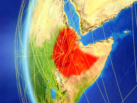 Ethiopia from space on model of Earth with international network. Concept of digital communication or travel. 3D illustration.