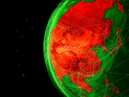 Asia on green Earth with network representing telecommunications, internet or intercontinental air traffic. 3D illustration. Stock Photo