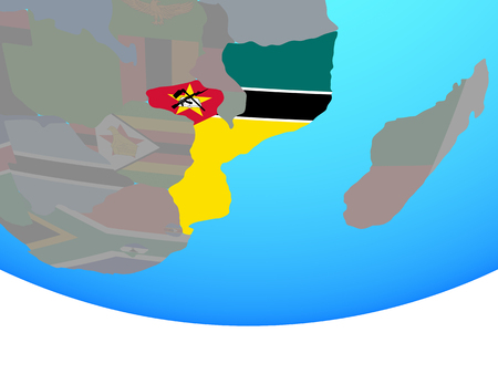 Mozambique with national flag on simple political globe. 3D illustration. Standard-Bild - 112738741