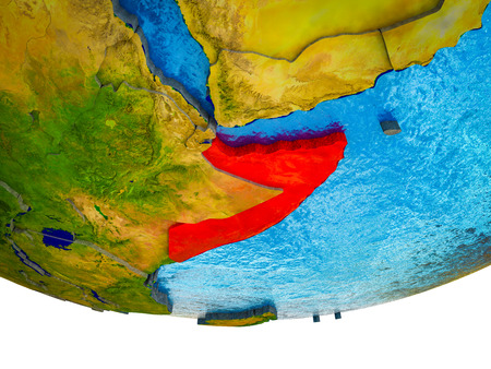 Somalia on 3D Earth with divided countries and watery oceans. 3D illustration.