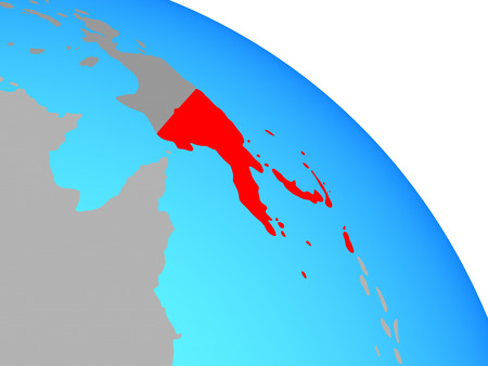 Papua New Guinea on simple blue political globe. 3D illustration.