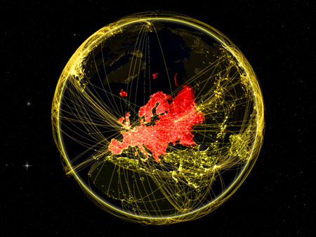 Europe on dark Earth with networks. May be representing air traffic, telecommunications or other communication network. 3D illustration.