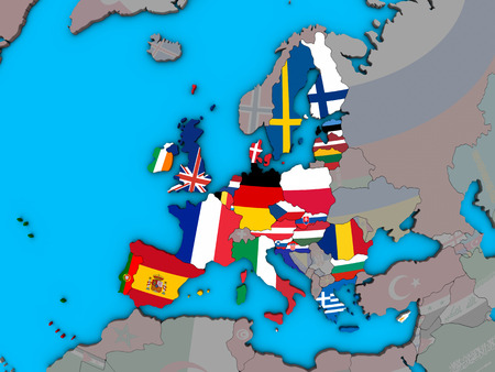 European Union with embedded national flags on blue political 3D globe. 3D illustration.