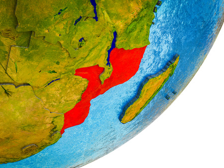 Mozambique on 3D model of Earth with water and divided countries. 3D illustration. Standard-Bild - 112735681