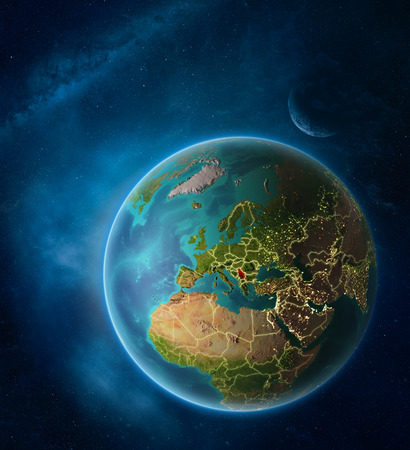 Planet Earth with highlighted Serbia in space with Moon and Milky Way. Visible city lights and country borders. 3D illustration. Stock Photo