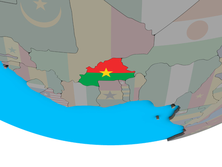 Burkina Faso with embedded national flag on simple political 3D globe. 3D illustration.
