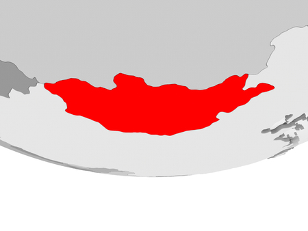 Mongolia in red on grey political globe with transparent oceans. 3D illustration. Stock Photo
